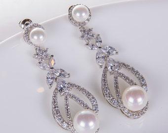 Pearl Wedding Earrings Zirconia Earrings Wedding Jewelry Bridesmaid Earrings Bridesmaid Accessories Dangling Teardrop Earrings stl167