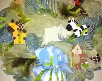 Baby Boy Wreath, Safari wreath, Nursery Door wreath, Baby Safari Wreath, Jungle Wreath for baby boy