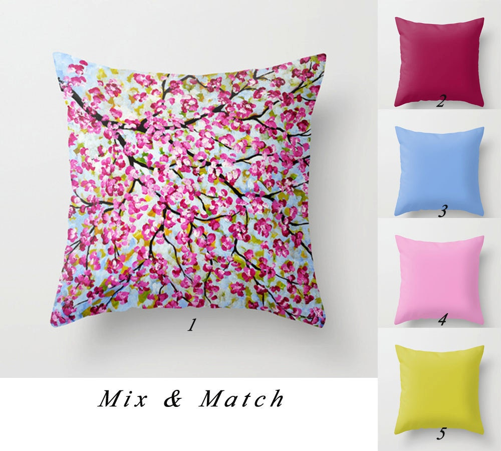 Pink Decorative Pillow Covers : Pink Throw Pillow Cover Blue Pillow Apple Green Pillow