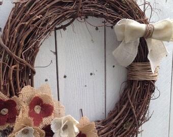 Burlap Wreath- Rustic Burlap Wreath- Rustic Chic Wreath