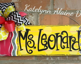 Personalized Teacher Pencil Name Sign