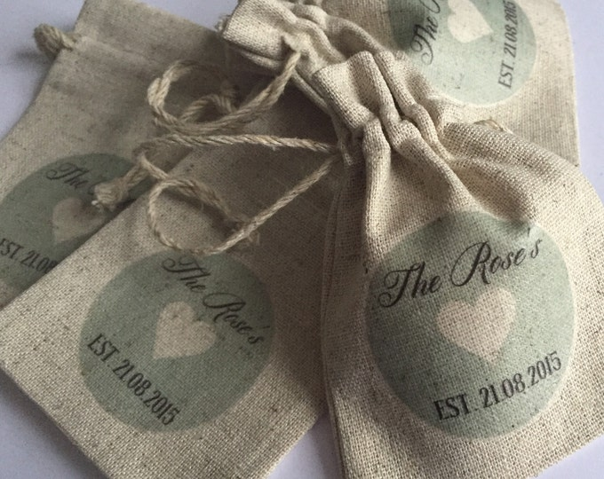 Personalised wedding favour bags, pouches, hangover helper, survival kit, hen do, any wording & colours. Favours, baby shower, birthday
