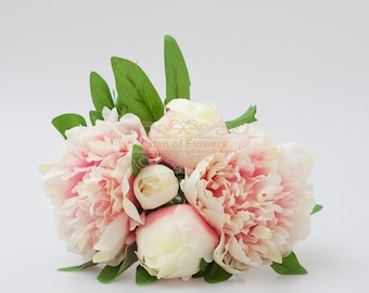 Pink Silk Peony Flowers for Wedding Bridal Bouquets, Home Decoration, Centerpiece, Corsage, Wedding