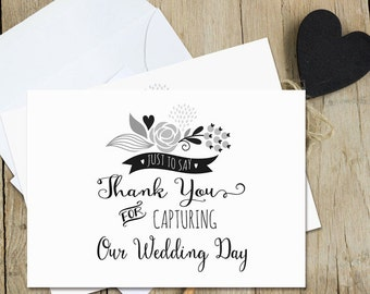 Thank You For Capturing Our Wedding Day Wedding Card - Black & White Pearl Shimmer Card - Blank for Personal Message - Card for Photographer
