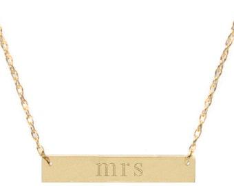 Mrs Brass Bar Necklace