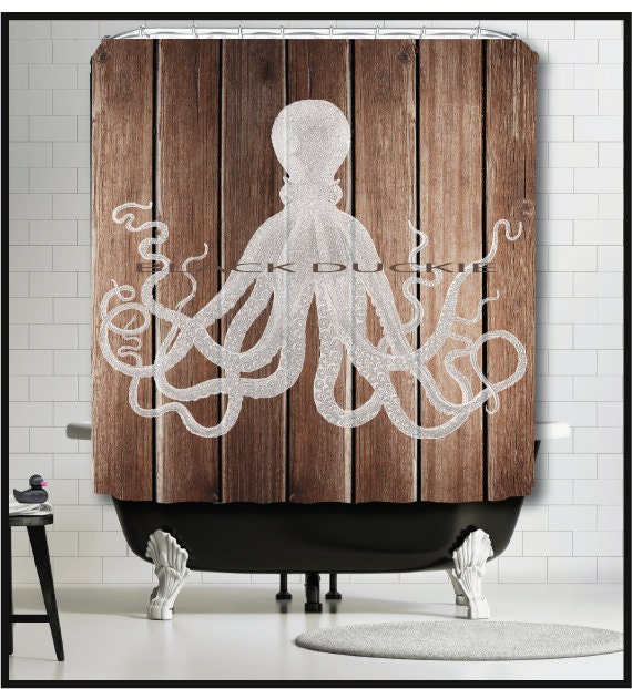 Octopus Shower Curtain with brown wood art background