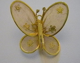 Gold Tone Mesh Butterfly Flower Pin Brooch