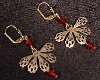 Filigree Wings and Red Swarovski Earrings