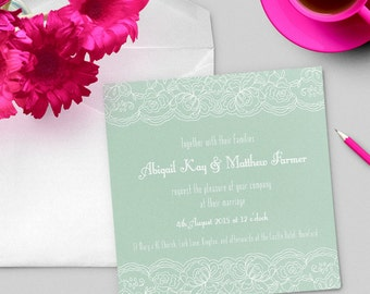 Mint lace printed wedding invitation, square custom invitation
