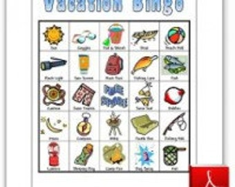 20 Printable Camping Vacation Bingo Game Cards - Lake House / Cabin / Northwoods / Fishing