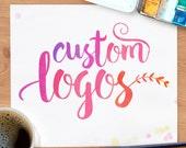 Custom Logo, watercolor, gold