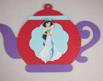 Set of 12 Tea Party Invitations, Tea pot Princess Jasmine Inviatations