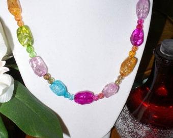 Handmade Tourmaline nugget necklace.