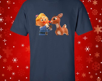 Hermie and Rudolph Christmas Holiday T-Shirt Christmas Party Tee Rudolph Red Nose Reindeer