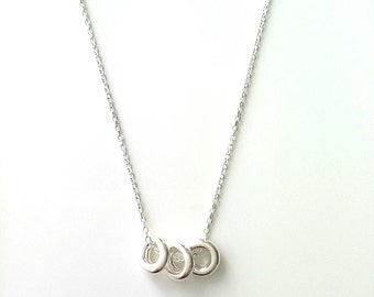 Necklace 3 small rings - Silver 925/000 - size adjustable