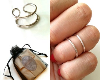 Phalanx - double ring - ring Sterling Silver 925 - adjustable size, knuckle rings, silver 925