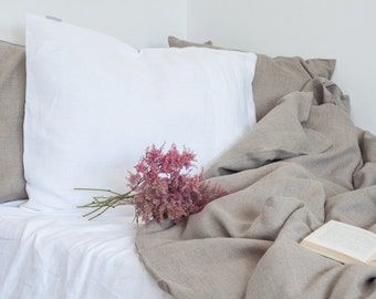 Natural linen duvet cover and 2 white linen pillow cases / linen bedding, natural bedding, queen size king size