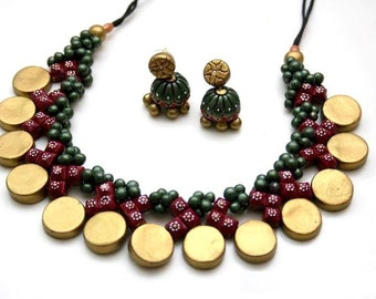 Terracotta necklace set, beaded necklace statement necklace