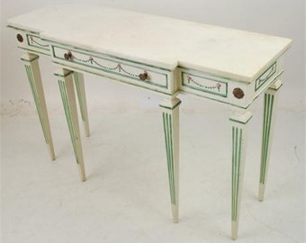 1950's Louis XVI Style Marble Top Painted Wood Console/Hall Table