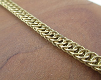 Brass Half Persian Chainmaille Bracelet, Chain Bracelet, Chainmail Jewelry