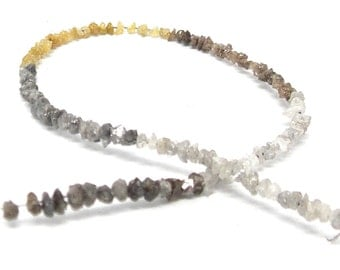 "Natural Rough Diamond Beads-Multi-colored 6"" Strand Raw Daimonds-Conflict Free"