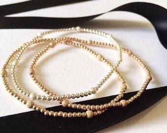 Gold beaded bracelet / Ball bracelet / stacking bracelet / rose gold / sterling silver / stackable bracelet