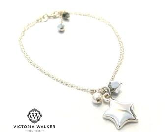 Shining Silver Star Bracelet