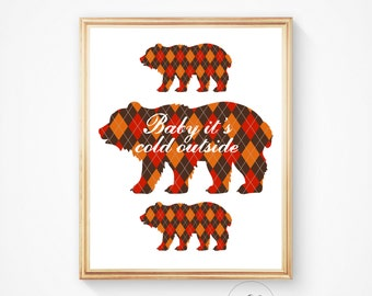 Printable art Christmas Printable BABY it's COLD OUTSIDE -  Polar bear print, gingham, animal art print, Printable art, Holiday art