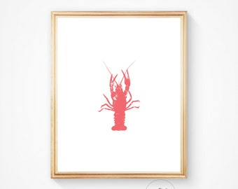 Lobster, Sea life print, Ocean art, Lobster print, Lobster decor, Nautical print, Lobster art, wall art, Lobster decor, Lobster art print
