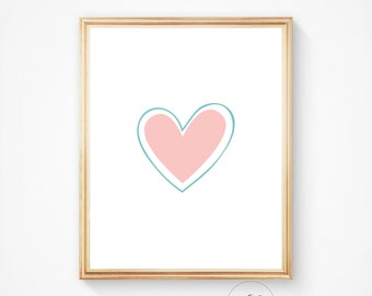 Heart print romantic print nursery print heart wall art heart decor, heart art, pink print, pink art prints, pink printable art, pink heart