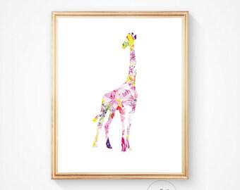 Giraffe print, Giraffe art, Giraffe wall art, Giraffe animal print, Watercolour giraffe, African animal print, watercolour art print, print