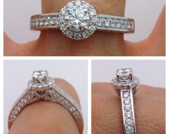 Round Halo 1 Carat Diamond Engagement Ring - 14K White Gold