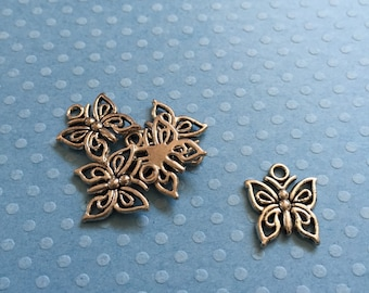 10 Silver Tone Butterfly Charms