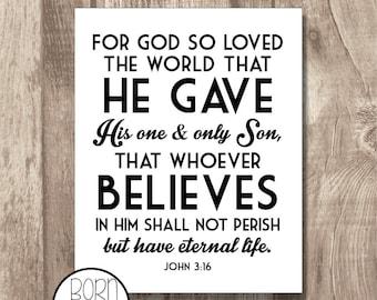 Printable Bible Verse John 3:16