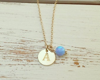 Personalized Opal Necklace,Initial Necklace,Personalized Initial Necklace,gold disc necklace,Gold Name Necklace,valentines days gift for her