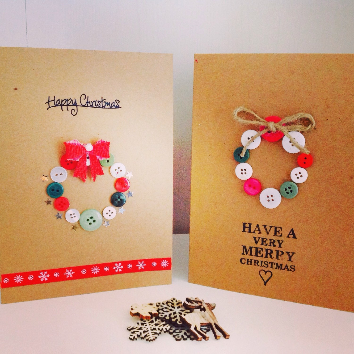 Pack of 5 handmade luxury christmas cards button wreath for Christmas cards made