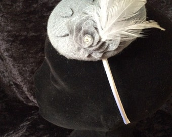 Silver grey felt bespoke fascinator