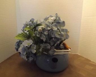 Rustic Old Blue Kettle Floral Arrangement - Unmarked