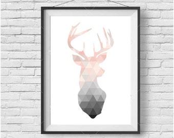 Blush Deer Print, Deer Wall Art, Deer Poster, Scandinavian Print, Scandinavian Wall Art, Geometric Deer Print, Geometric Art, Triangle Print