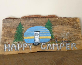 Happy Camper Hand Painted Sign