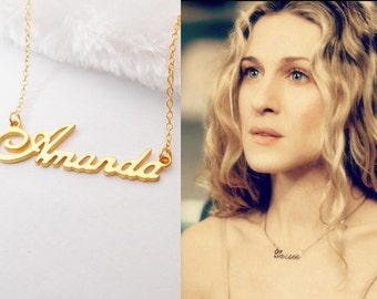 Gold Name Necklace,Personalized Carrie Bradshaw Necklace,Sex and the City Name Necklace,Custom Kid Name necklace,Name Jewelry,Back to School