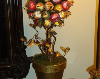Topiary, Vintage, Holiday Decor, Fruit, Apple, Pear & Pomegranate