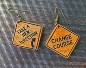 TRAFFIC SIGN EARRINGS - Fun pair of earrings - Rusty traffic warning signs (T-5)