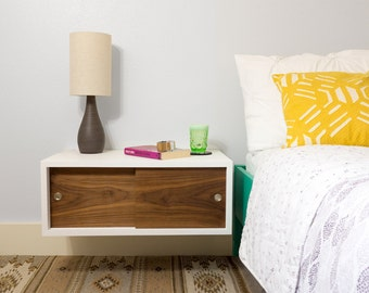 Floating Nightstand with Sliding Doors - Mid Century Modern Inspired