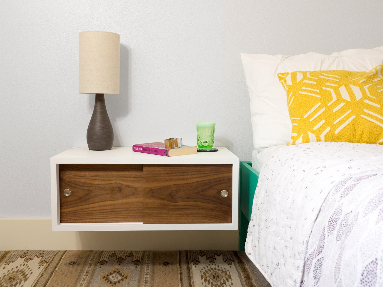 Floating Nightstand with Sliding Doors Mid Century Modern