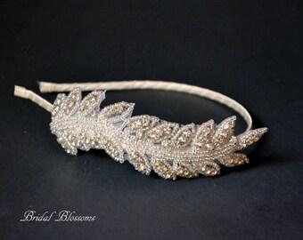 Stunning Crystal Rhinestone Leaf Headband | Rhinestone Headband | Bridal Headpiece | Flower Girl Bridesmaid | Gatsby Art Deco Hair Piece