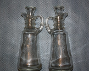 Vintage Anchor Hocking Clear Glass Cruets with Glass Stoppers