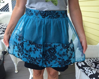 Adorable 50's Vintage Retro Kitchen Hostess Apron in Dainty Teal Organdy Fabric Never Used