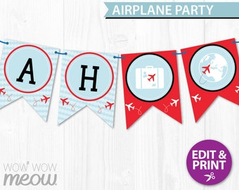 AIRPLANE Birthday Party Banner INSTANT DOWNLOAD Plane Airport Areoplane Decorations Full Printable Editable Bunting Personalise @Home Flags