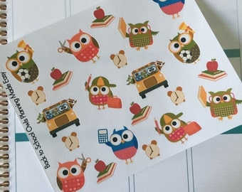 Back to School Owl Stickers! Perfect for your Erin Condren Life Planner, calendar, Paper Plum, Filofax!